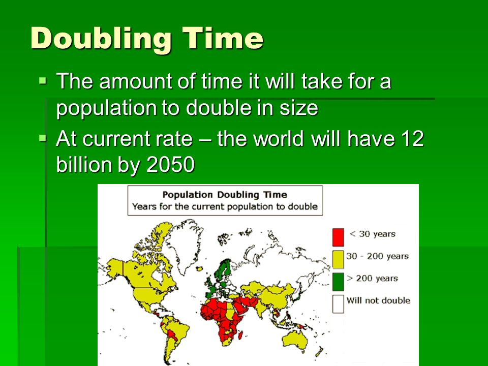 Doubling Time The amount of time it will take for a population to double in size.