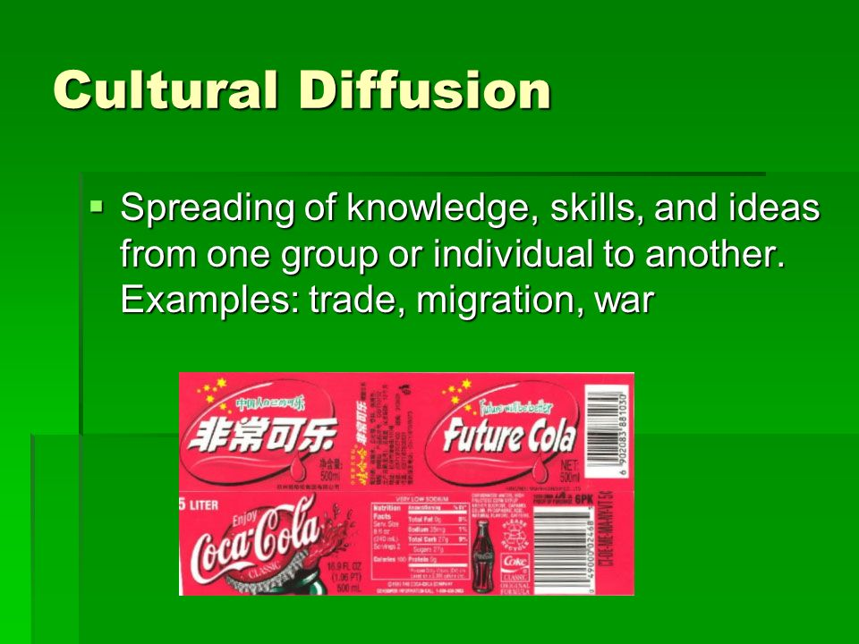 Cultural Diffusion Spreading of knowledge, skills, and ideas from one group or individual to another.