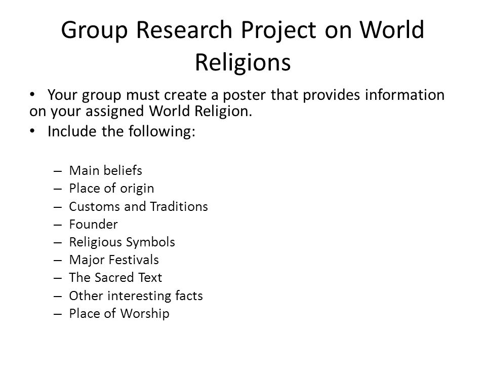 Group Research Project on World Religions