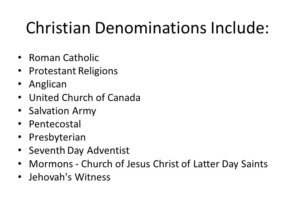 Christian Denominations Include: