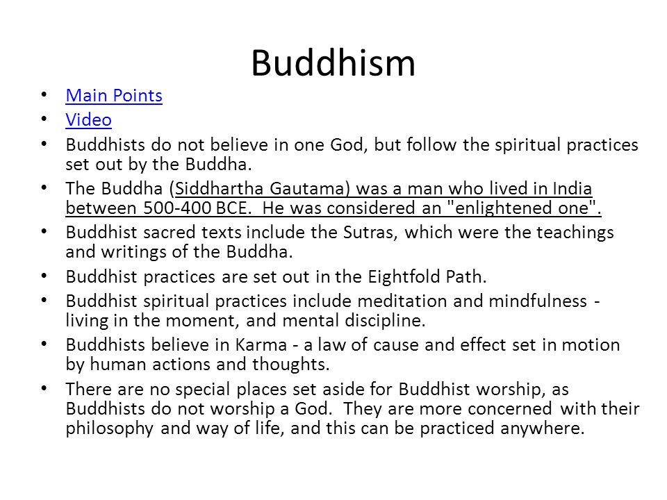 Buddhism Main Points Video