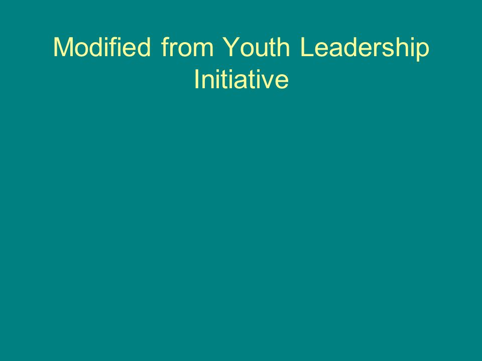 Modified from Youth Leadership Initiative