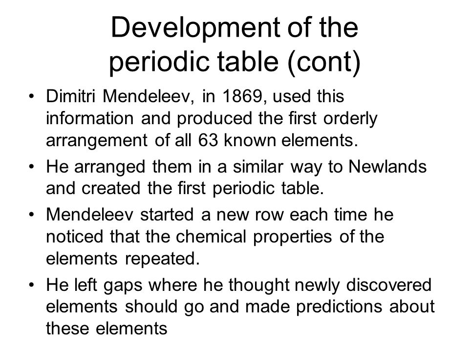 Development of the periodic table (cont)