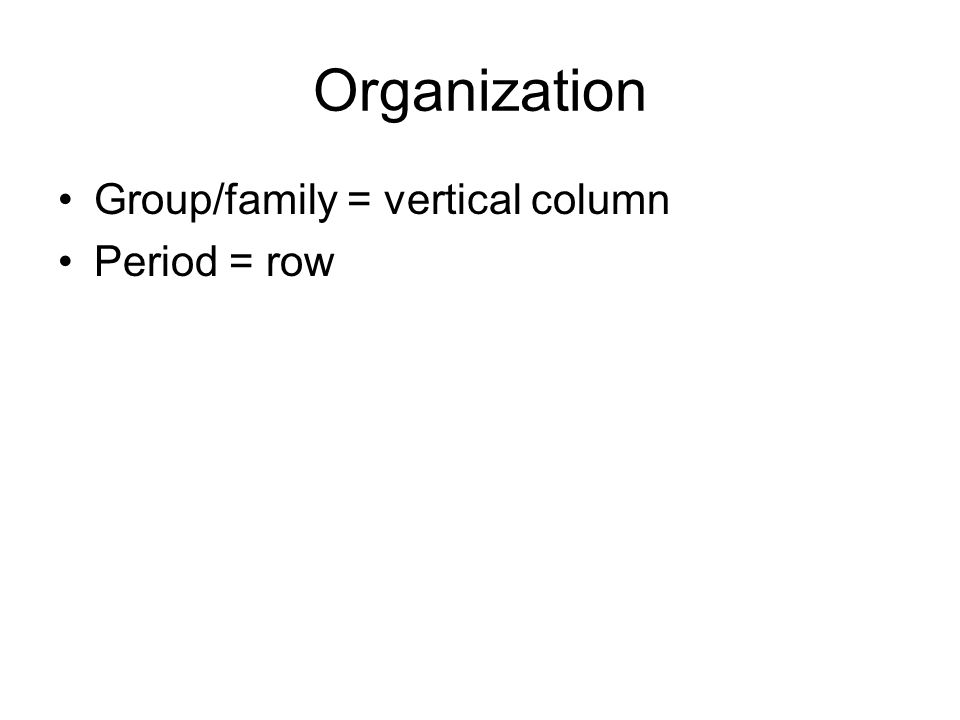 Organization Group/family = vertical column Period = row