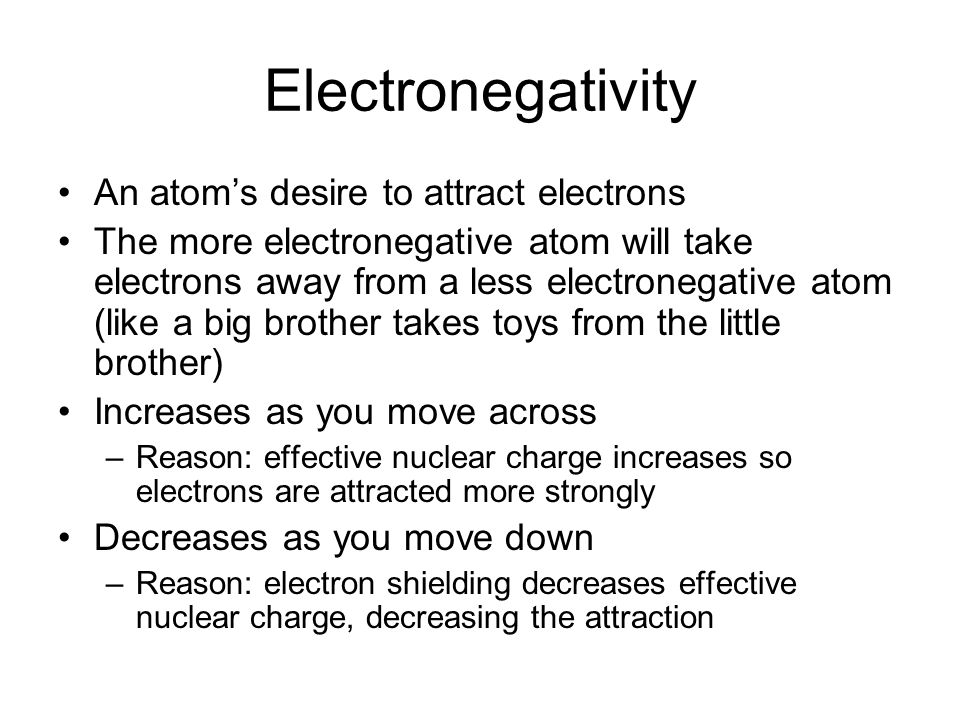 Electronegativity An atom's desire to attract electrons