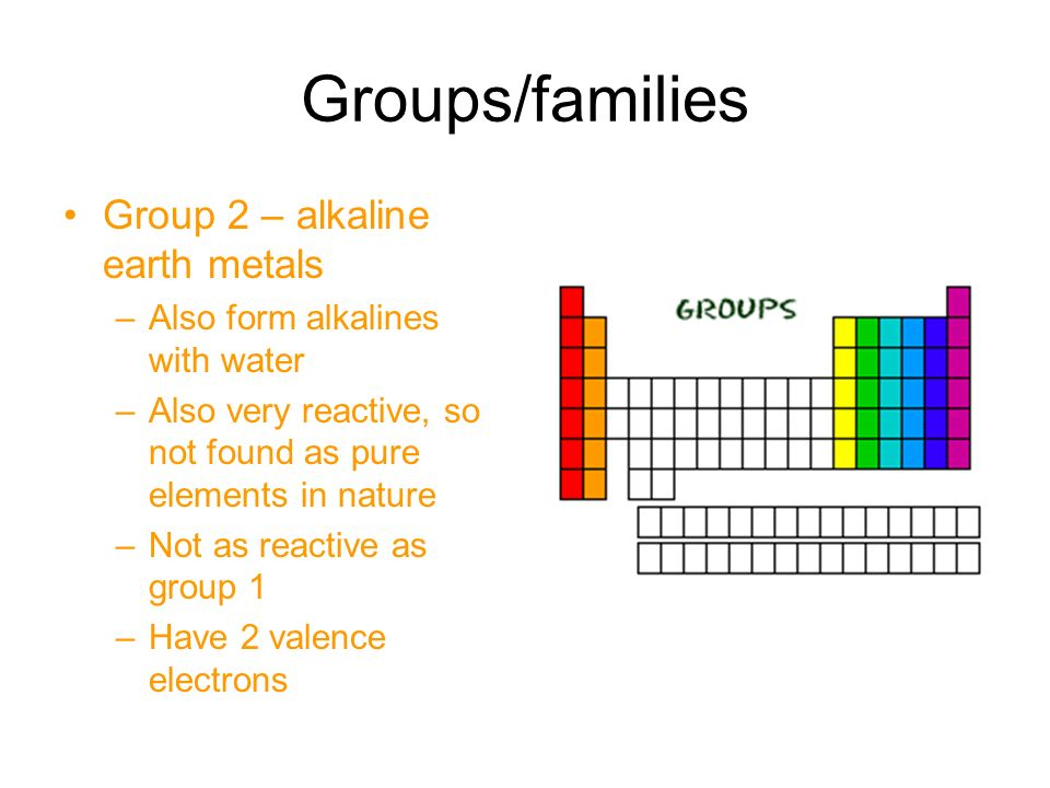 Groups/families Group 2 – alkaline earth metals