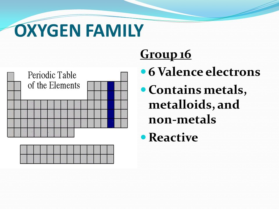 OXYGEN FAMILY Group 16 6 Valence electrons
