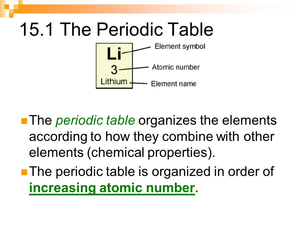 Chapter 15 elements the periodic table ppt video online download 151 the periodic table the periodic table organizes the elements according to how they combine with urtaz Gallery