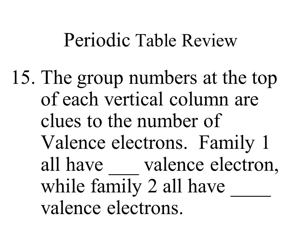 Periodic Table Review 1 Atoms In Groupsfamilies Have Similar A