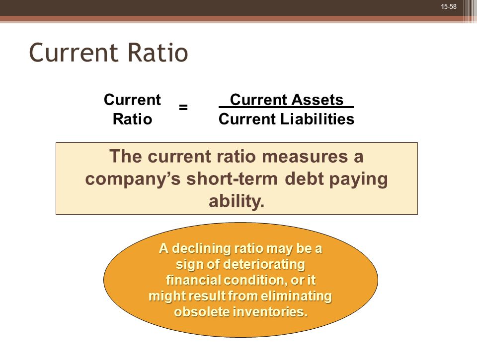 The current ratio measures a company's short-term debt paying ability.