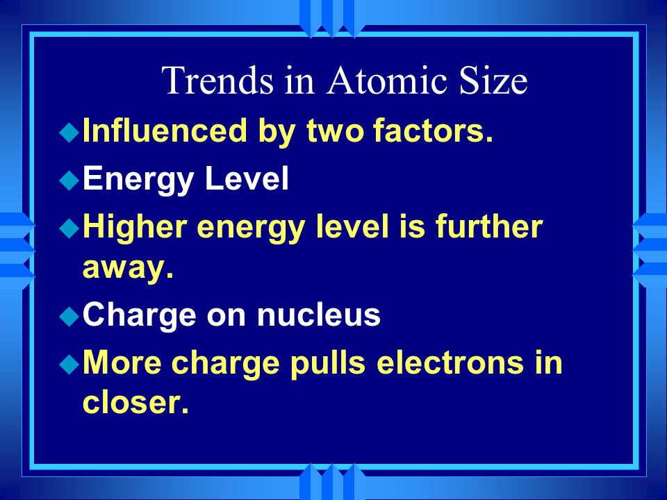 Trends in Atomic Size Influenced by two factors. Energy Level