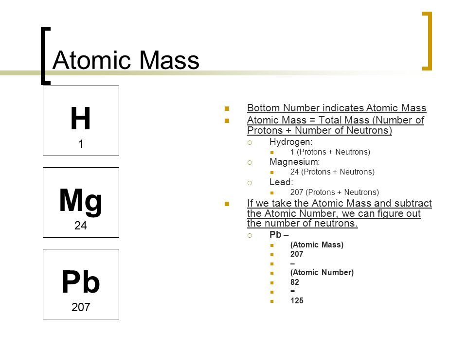 The atom and the periodic table ppt video online download h mg pb atomic mass bottom number indicates atomic mass urtaz