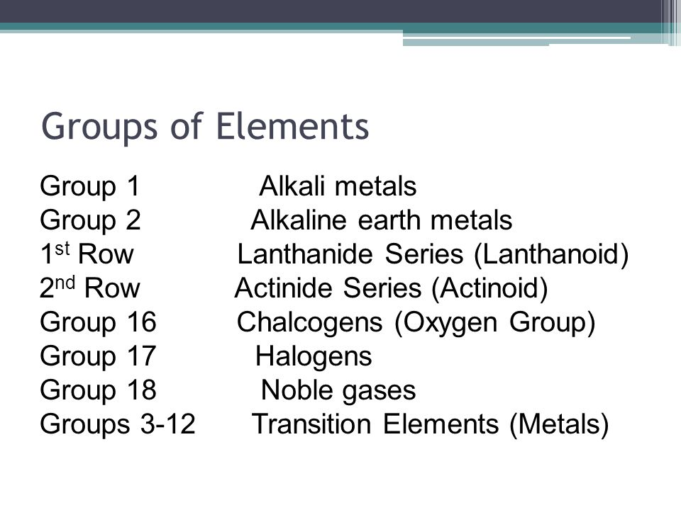 Groups of Elements Group 1 Alkali metals Group 2 Alkaline earth metals