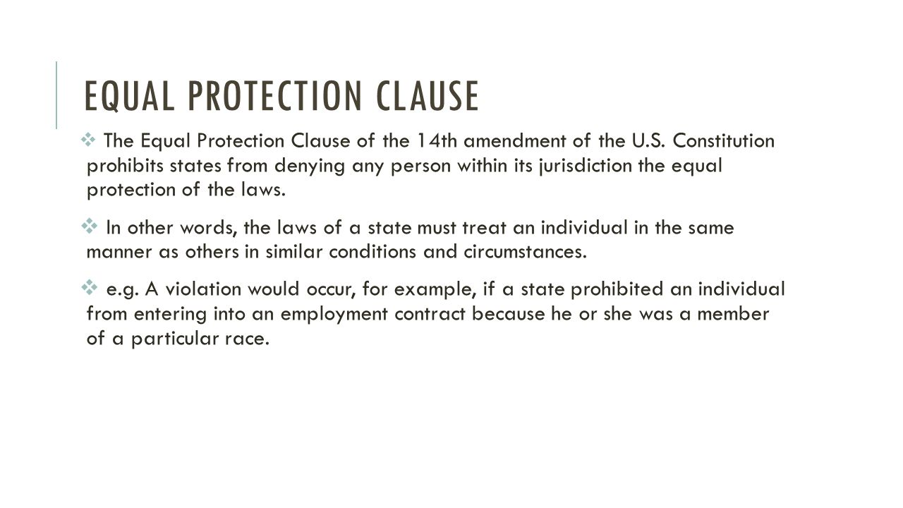 Imágenes De 14th Amendment Equal Protection Clause Summary