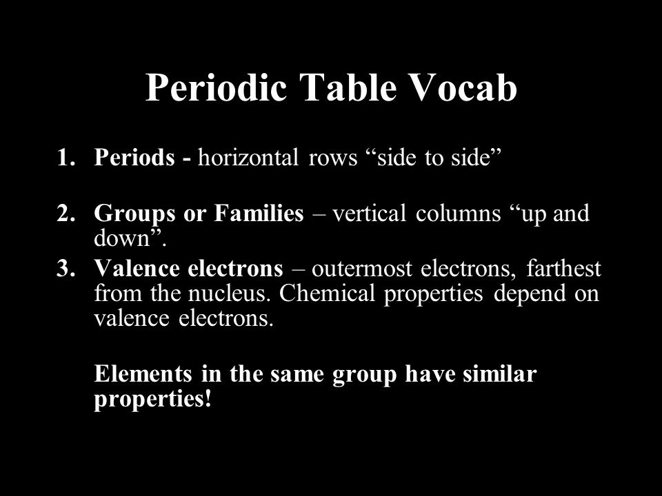 Periodic Table Vocab Periods - horizontal rows side to side