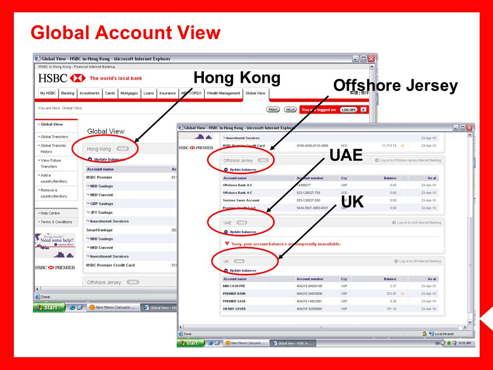 Global Account View Hong Kong Offshore Jersey UAE UK