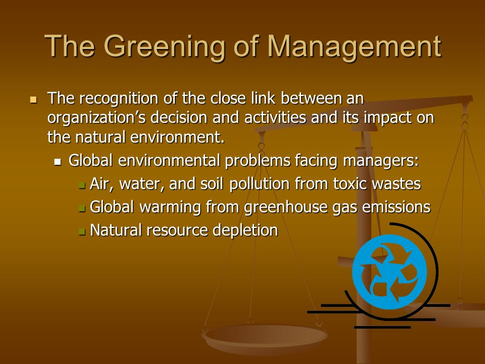 The Greening of Management