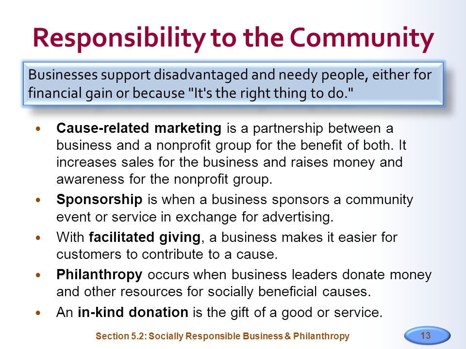 Responsibility to the Community