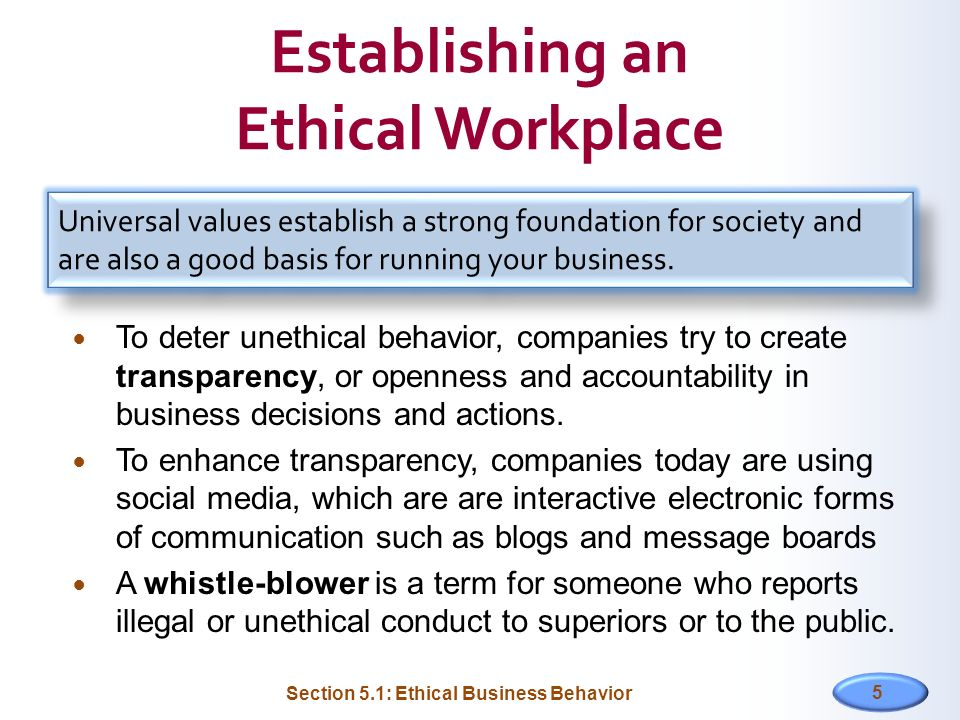 Establishing an Ethical Workplace