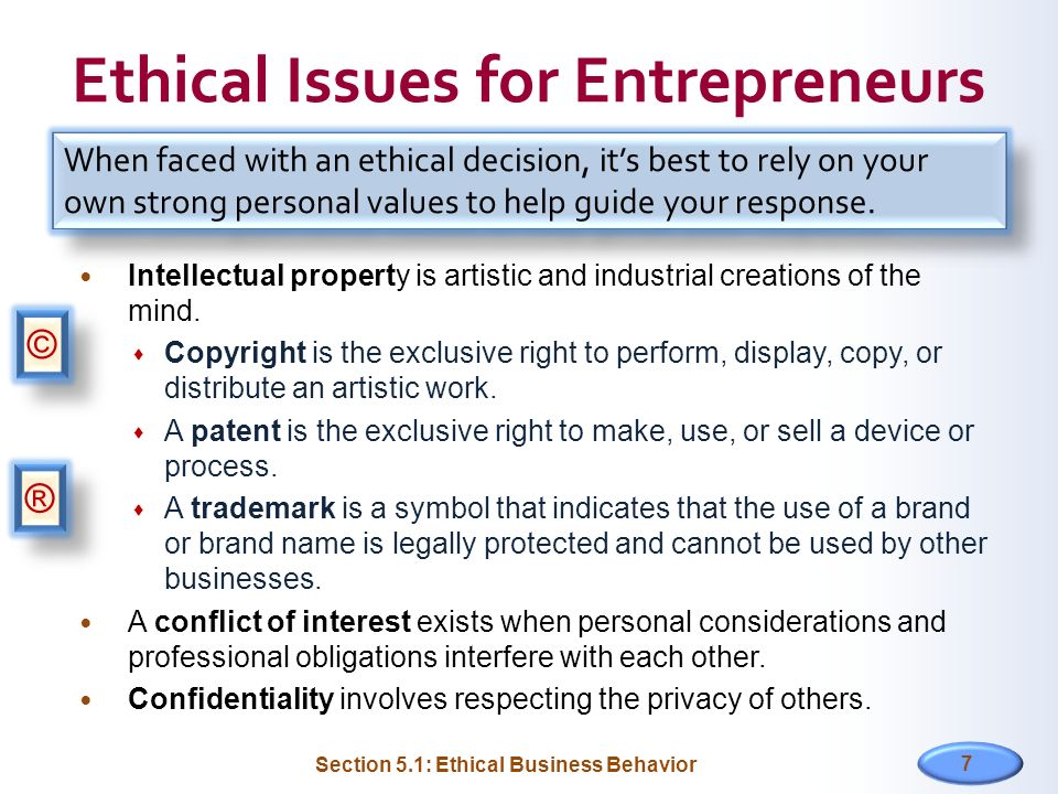 Ethical Issues for Entrepreneurs