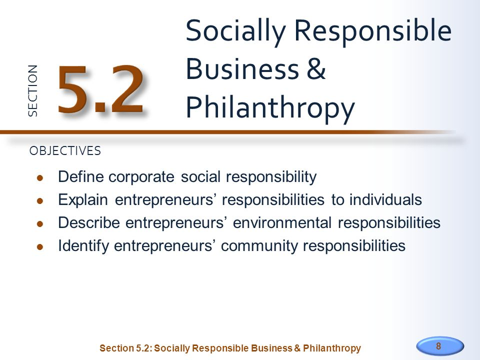 Socially Responsible Business & Philanthropy
