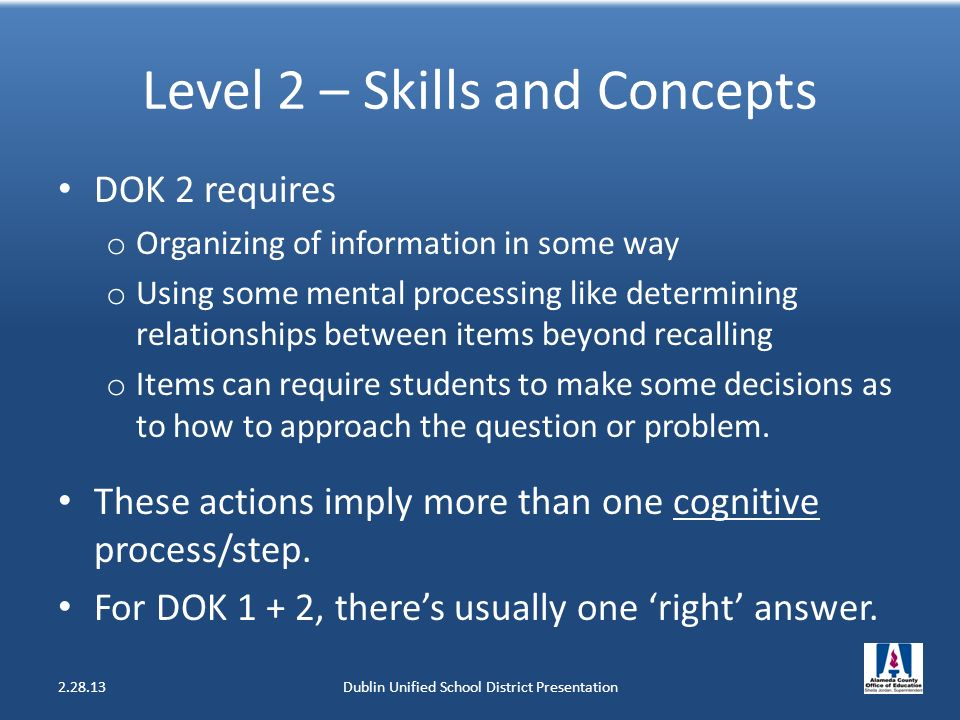 Level 2 – Skills and Concepts