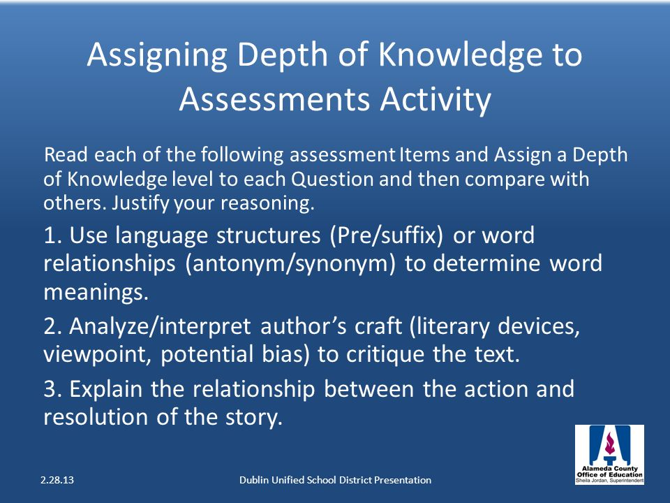 Assigning Depth of Knowledge to Assessments Activity