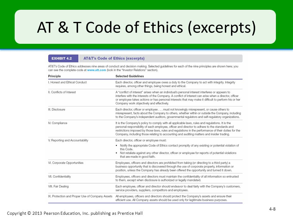 AT & T Code of Ethics (excerpts)
