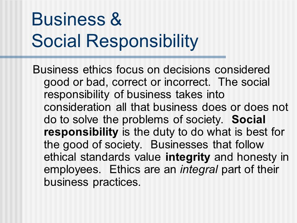 Business & Social Responsibility