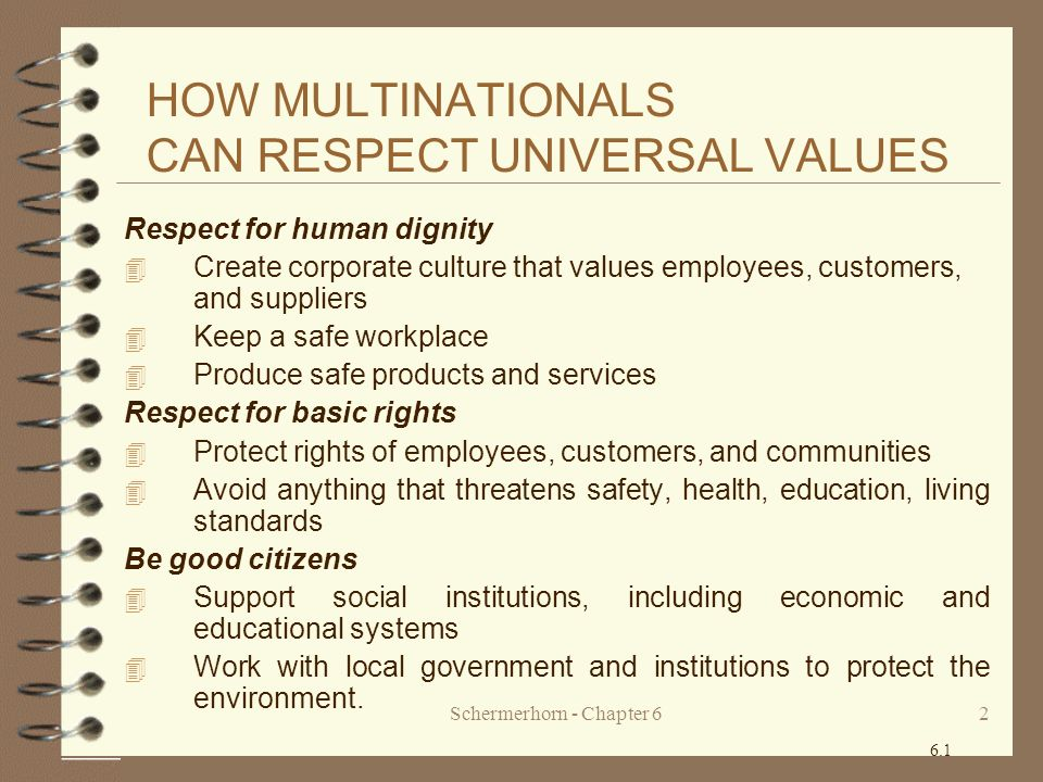HOW MULTINATIONALS CAN RESPECT UNIVERSAL VALUES