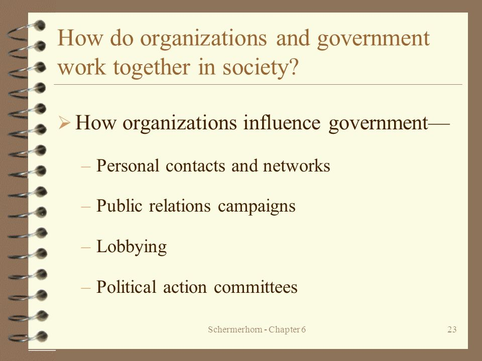 How do organizations and government work together in society