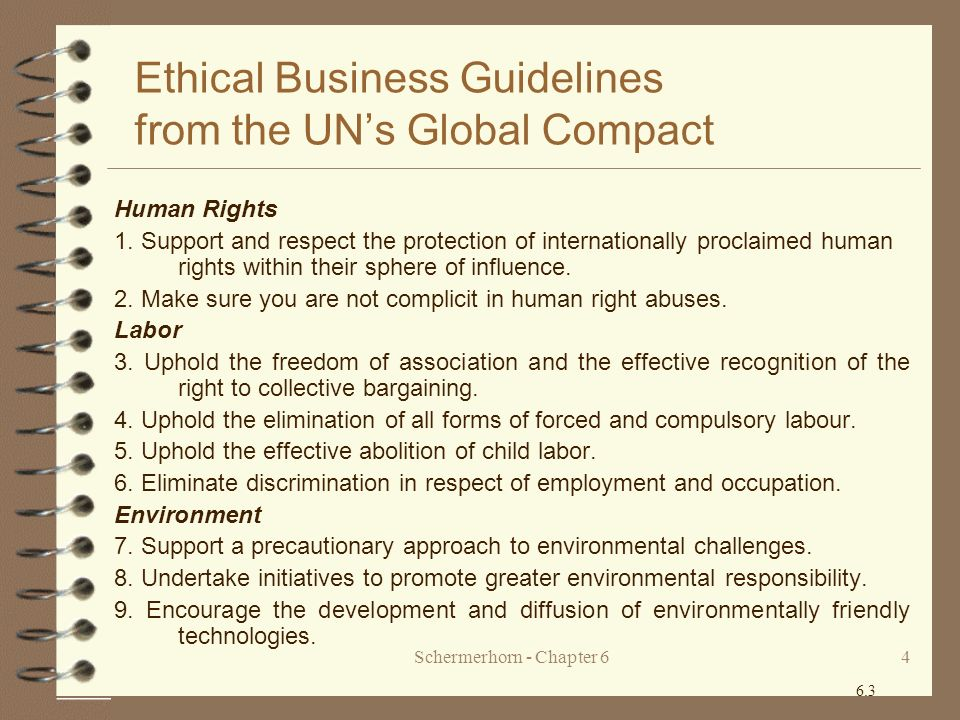 Ethical Business Guidelines from the UN's Global Compact
