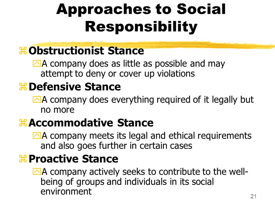 companies that take a defensive stance to social responsibility