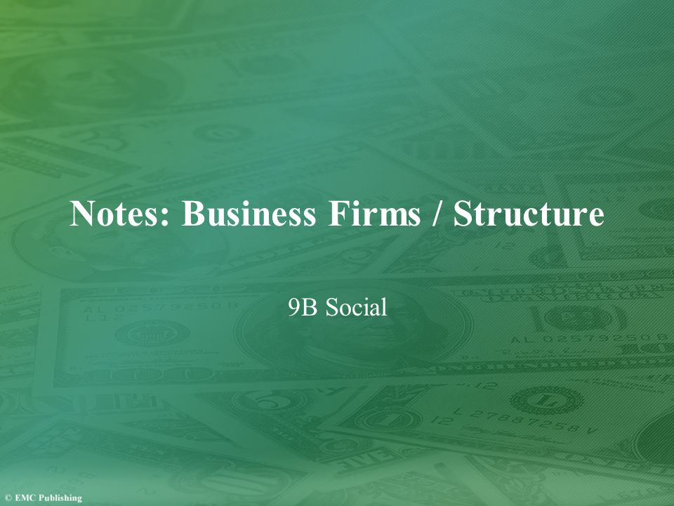 Notes: Business Firms / Structure