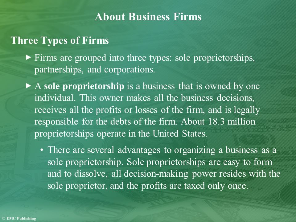 About Business Firms Three Types of Firms