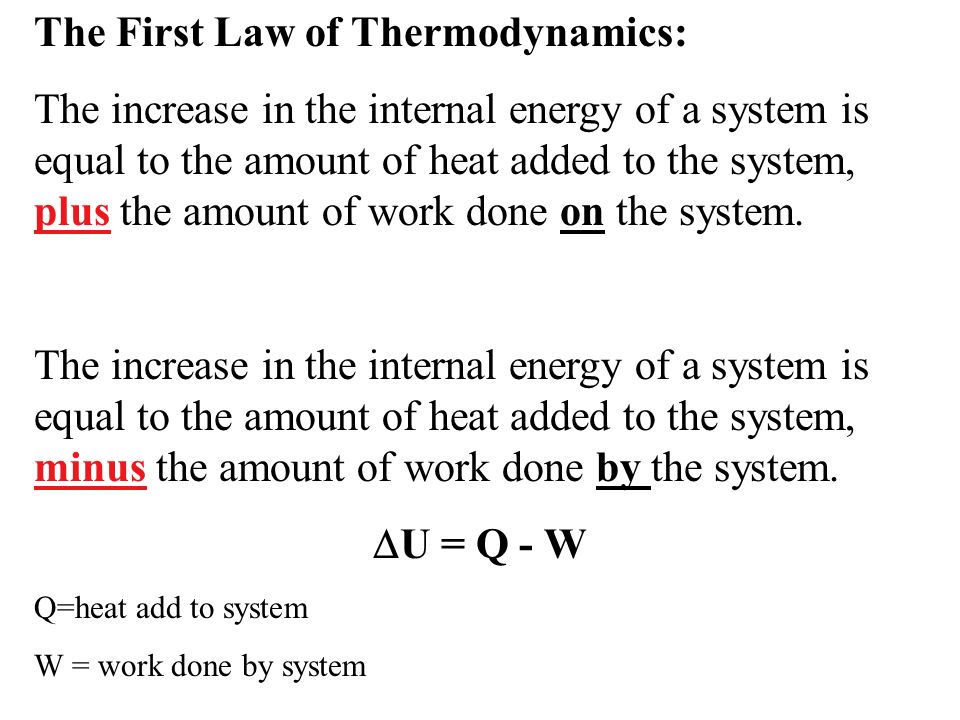 The First Law of Thermodynamics:
