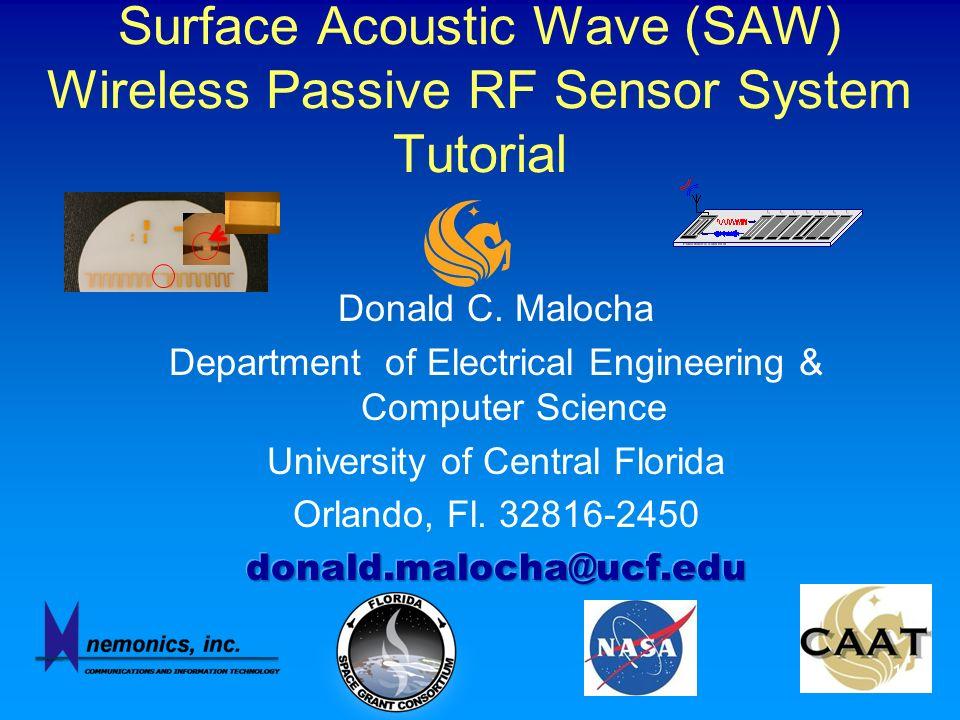 Surface Acoustic Wave (SAW) Wireless Passive RF Sensor