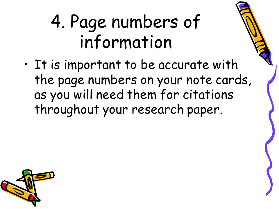 4. Page numbers of information