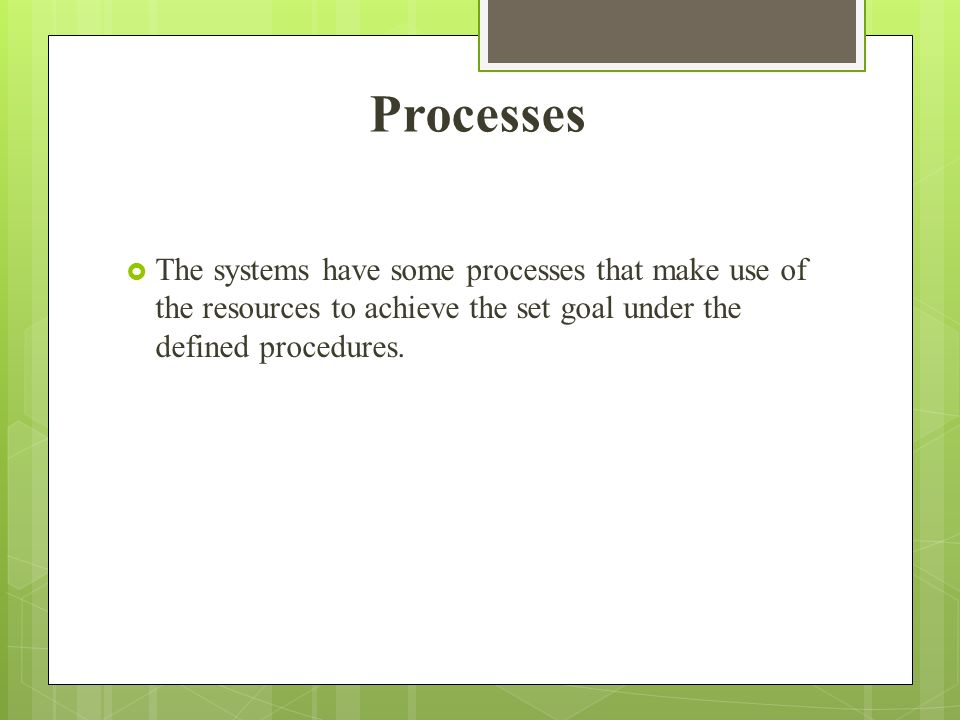 Processes The systems have some processes that make use of the resources to achieve the set goal under the defined procedures.