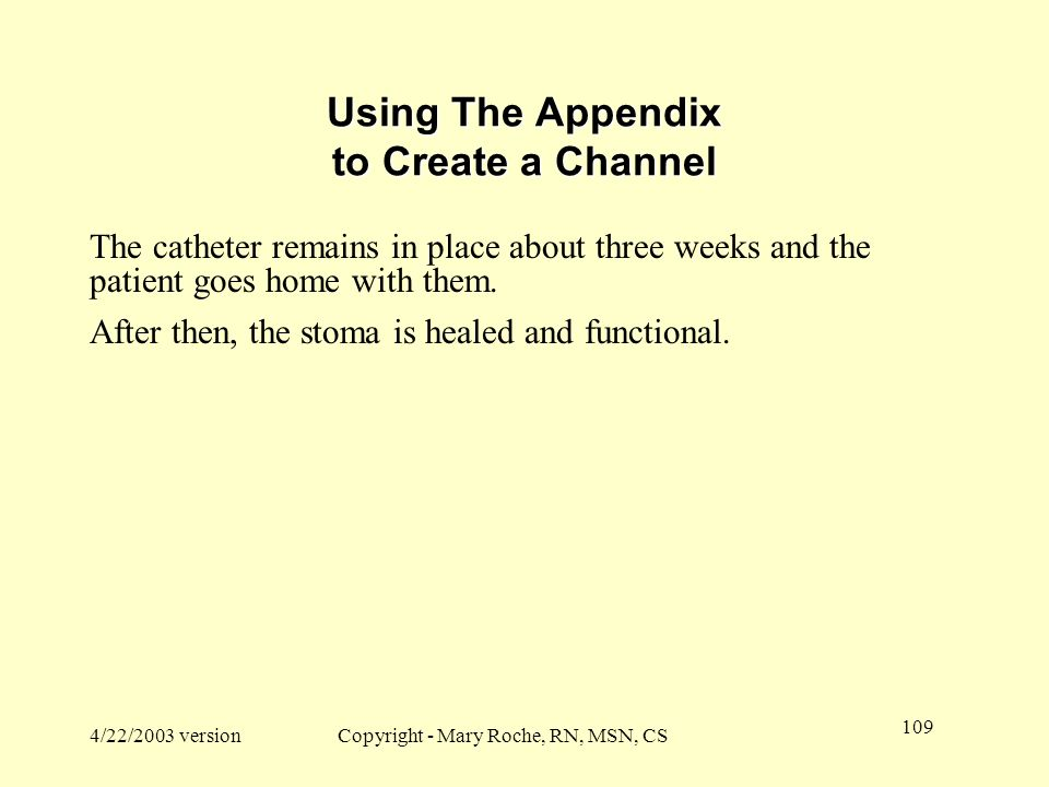 Using The Appendix to Create a Channel