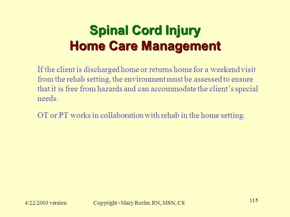 Spinal Cord Injury Home Care Management
