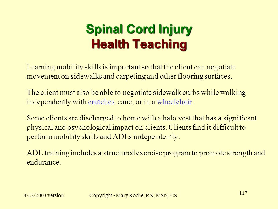 Spinal Cord Injury Health Teaching