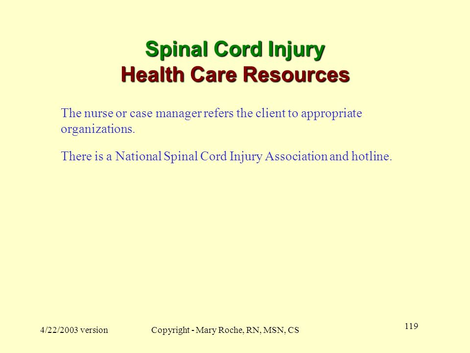 Spinal Cord Injury Health Care Resources