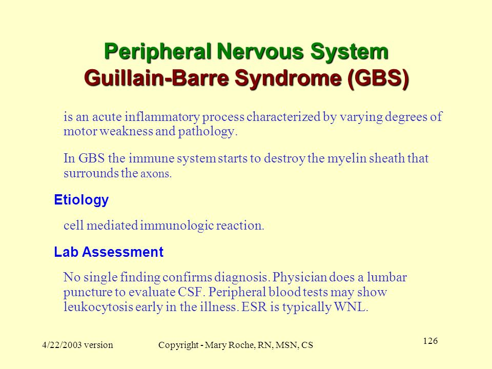 Peripheral Nervous System Guillain-Barre Syndrome (GBS)