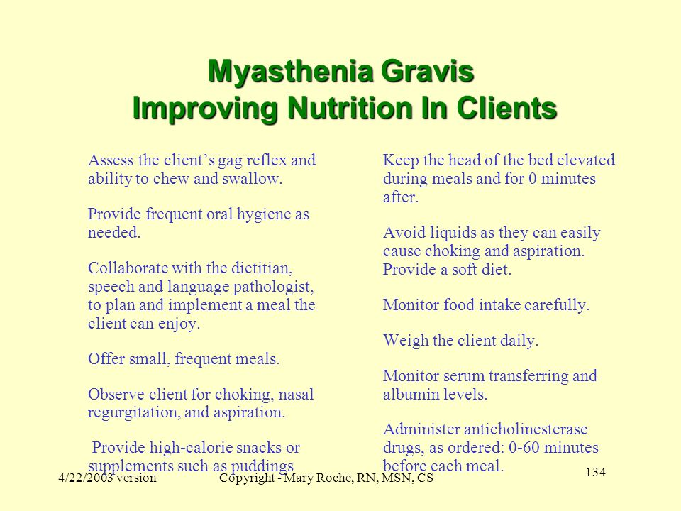 Myasthenia Gravis Improving Nutrition In Clients