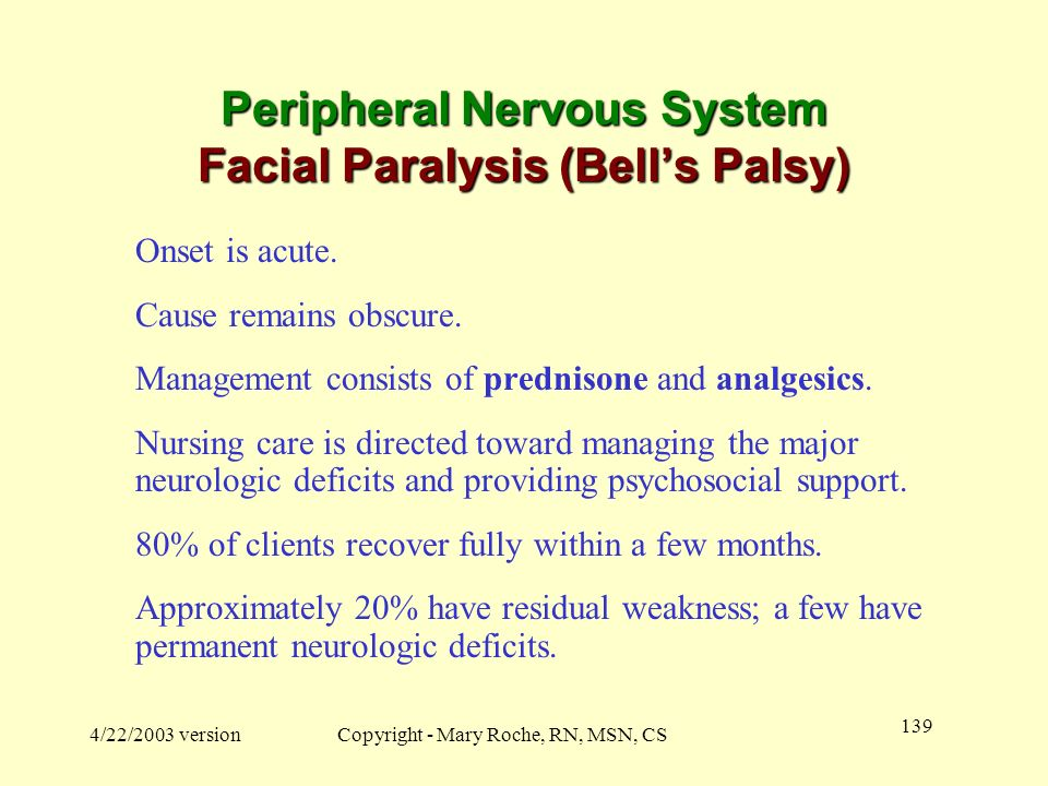 Peripheral Nervous System Facial Paralysis (Bell's Palsy)