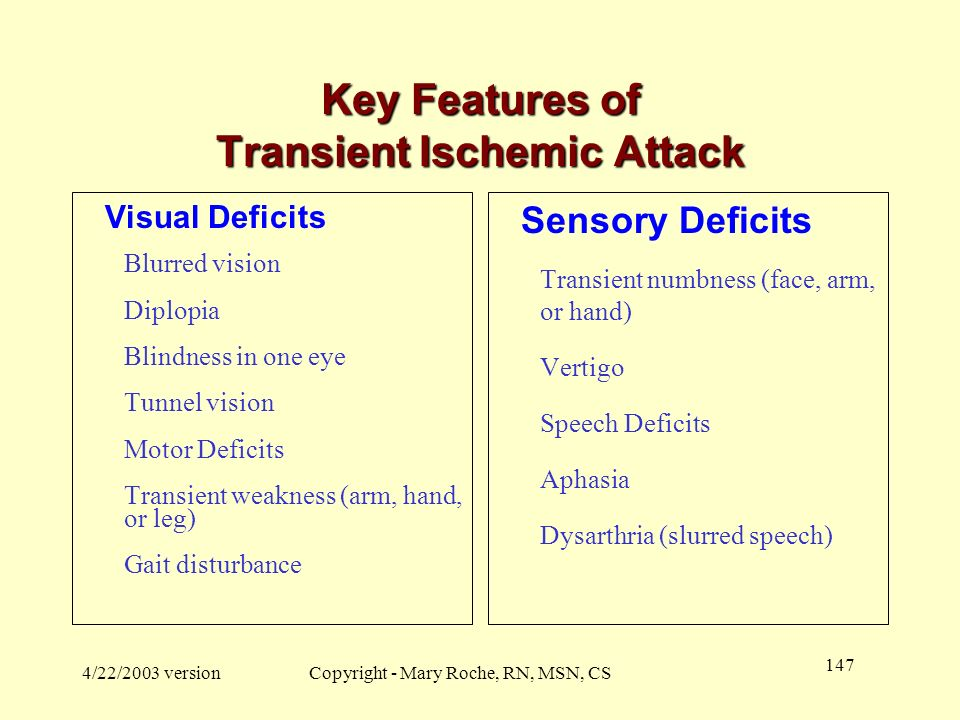 Key Features of Transient Ischemic Attack