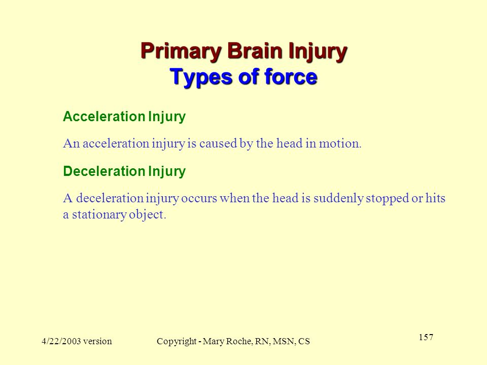 Primary Brain Injury Types of force