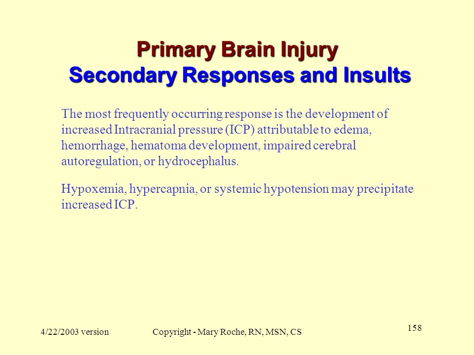 Primary Brain Injury Secondary Responses and Insults