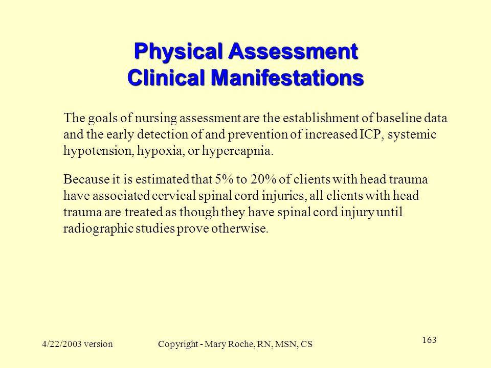 Physical Assessment Clinical Manifestations